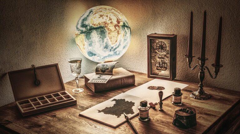 テーブルの上の地球儀